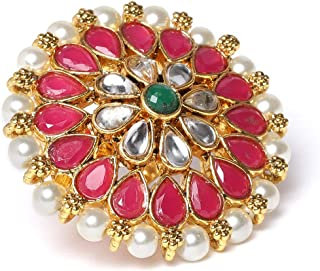 ZAVERI PEARLS Pink and Green Stones and Pearls Base Metal Flower Traditional Finger Ring for Women - ZPFK9544