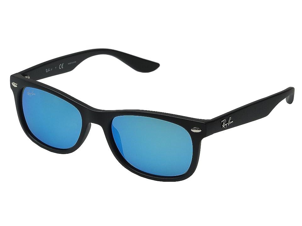Ray-Ban Junior RJ9052S New Wayfarer 48mm (Youth) (Matte Black/Blue Mirror) Fashion Sunglasses