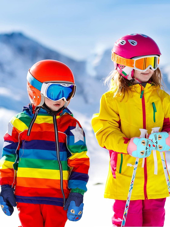 Winter Kids Snow Mittens Windproof Insulation Warm Mitten Outdoor Riding Thickening Gloves Unisex Waterproof Ski Mitten Winter Warm Gloves for Kids (Black, Red, Navy Blue, Blue, Pink,5 Pairs)
