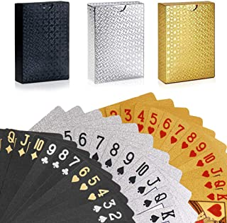 GORCHEN Playing Cards Waterproof Waterproof Plastic Foil Poker Cards Set Magic Tricks Tool for Men Women Party Game Show Festival, Gold Silver Black