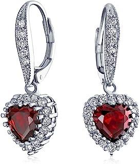 Matrimonio anniversario nuziale romantico rosso rosso chiaro 4CT AAA CZ Halo Cuore a forma di zirconia cubica Penzolo Leve...