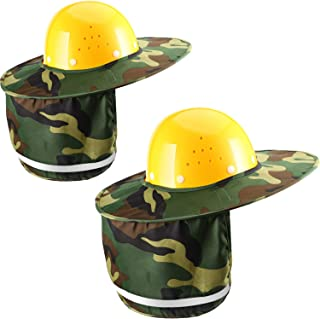 Jovitec 2 Pieces Helmet Sun Shade Hard Hat Sun Neck Shield with Full Brim, Reflective Stripe, Adhesive Hook for Safety Helmet (Camouflage)