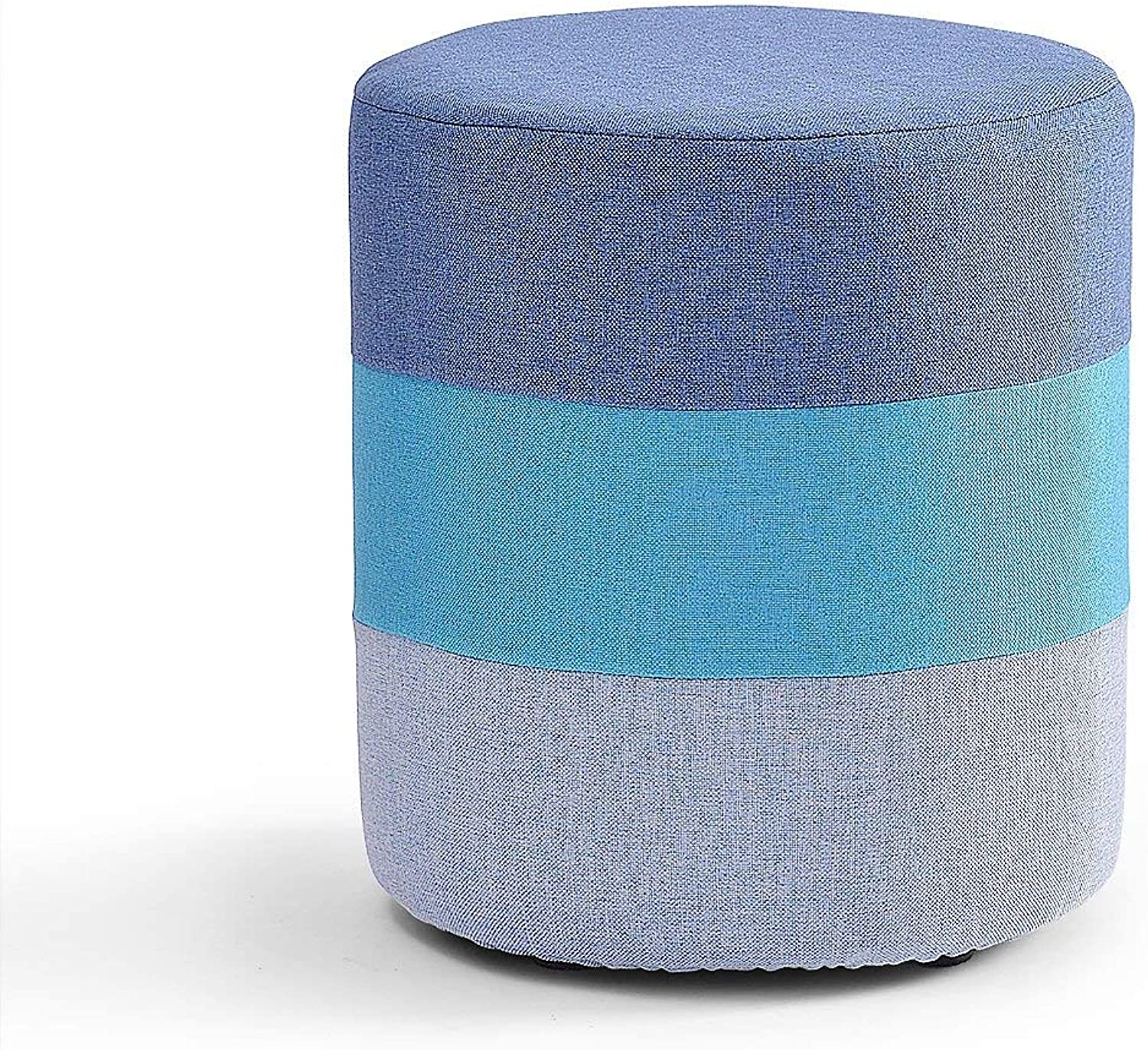 GJD Stylish Solid Wood shoes Bench Low Stool Simple Stool Makeup Stool Fabric Round Pier Sofa Stool Upholstered Stool,29  35cm (color   bluee)
