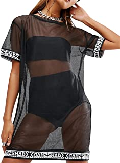 WuLun Women's Sexy Cover Ups Short Sleeve See Through Gauze Mesh T-Shirt Dress