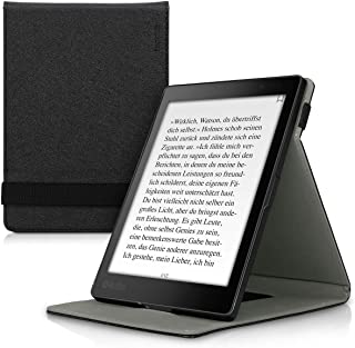 kwmobile Cover for Kobo Aura ONE - PU Leather e-Reader Case with Built-in Hand Strap and Stand - Black