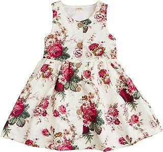 GRNSHTS Baby Girls Flower Print Backless Lace Dress with Headband