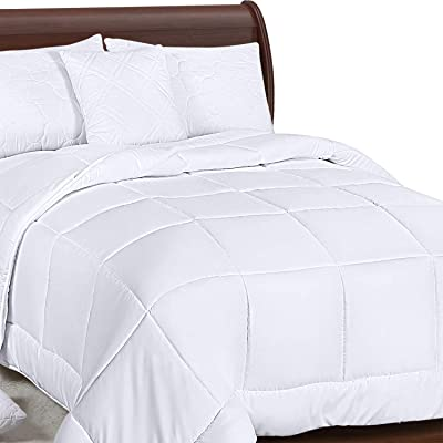Utopia Bedding All Season Down Alternative Quilted Comforter Queen - Queen Duvet Insert with Corner Tabs - Machine Washable - Duvet Insert Stand Alone Comforter - Queen/Full - White