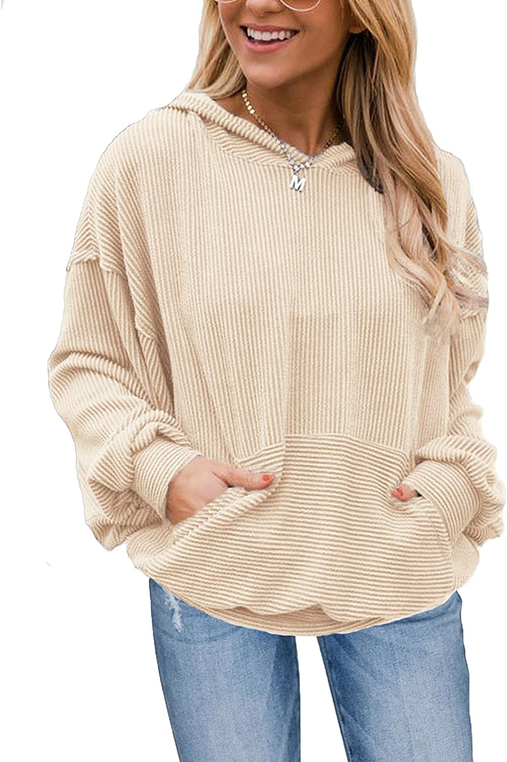PINKMSTYLE Womens Oversized Hoodies Dolman Long Sleeve Shirts Solid Color Ribbed Pullover Sweatshirt with Pocket