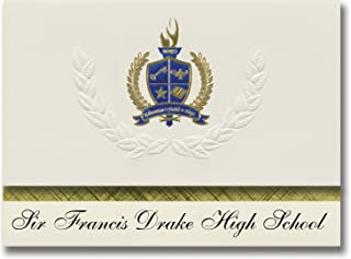 Signature Announcements Sir Francis Drake High School (San Anselmo, CA) Graduation Announcements, Presidential style, Elite package of 25 with Gold & Blue Metallic Foil seal