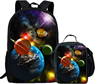 Coloranimal Universe Galaxy Printed School Bag with Lunch Box for Teens Child