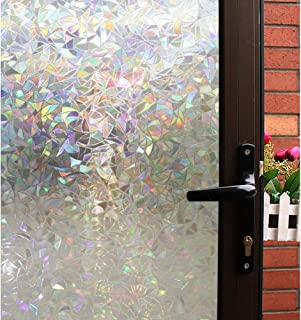 Mikomer 3D Decorative Window Film,Clear Glass Film,Rainbow Effect Door Window Tint,Static Cling Heat Control Anti UV for Kitchen,Dining Room,Bedroom,Living Room,17.5 inches by 78.7 inches
