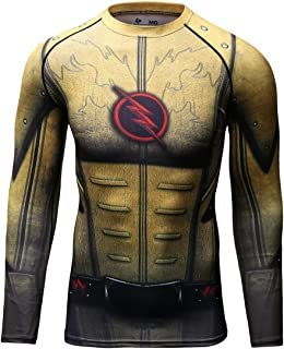 Men's Compression Sports Shirt Cool Lightning/Flash Running Long Sleeve Tee/3 Colors (L, Brown)