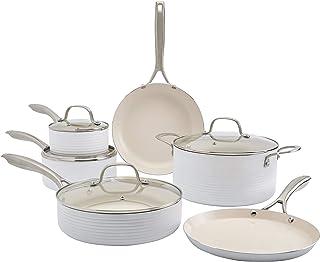 Denmark Tools for Cooks Monaco Cookware Collection Non-Stick Durable Aluminum Oven Safe, 10 Piece Monaco Cookware Set in S...