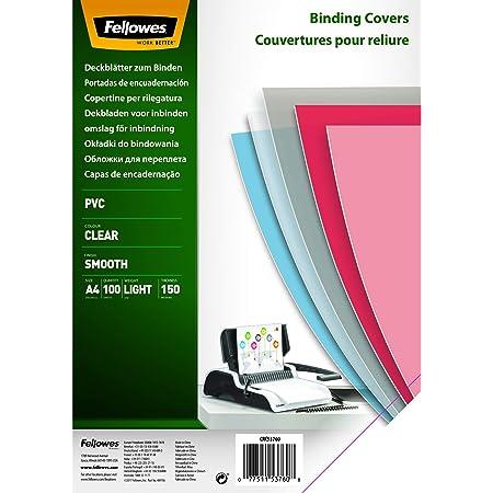 Fellowes 5376001 Couvertures de reliure A4 transparentes PVC 150 microns 15/100e