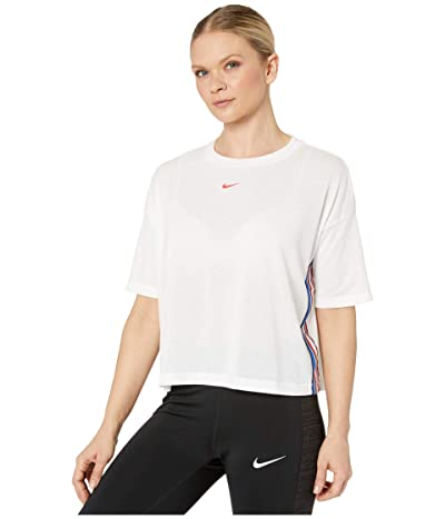 Nike Pro Top Crop Short Sleeve Tape (White/Track Red) Women