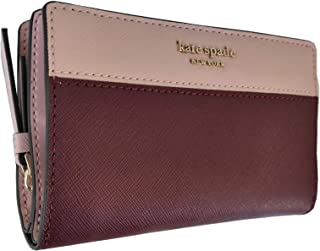 Kate Spade New York Cameron Medium Bifold Wallet Cherry Wood Warm Vellum Saffiano Leather