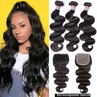 UNice Hair Brazilian Body Wave 3 Bundles with 5x5 Transparent Lace Closure Free Part, Unprocessed Human Virgin Hair Weaves with Deep Part HD Lace Closure (18 20 22+16 Closure)