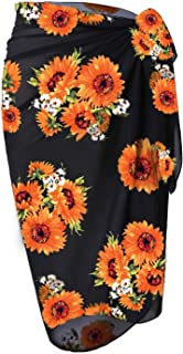 LIENRIDY Women's Pareo Swimsuit Beach Swimwear Wrap Bikini Sarong 107-Sunflower-L-XL