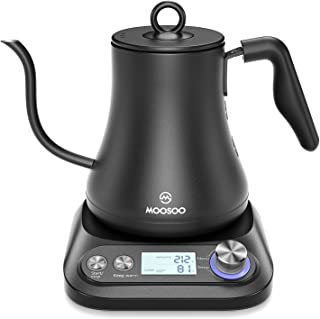 MOOSOO Electric Gooseneck Kettle with Variable Temperature Control & Presets, Pour Over Coffee/Tea Kettle, 100% Stainless ...