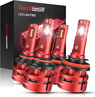 Torchbeam T2 9005 H11 LED Headlight Bulb Kit, High Beam Low Beam, 6000K Cool White, 200% Brightness, Compact Design, Replacement Bulbs, Pack of 4