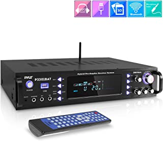Wireless Bluetooth Home Stereo Amplifier - Hybrid Multi-Channel 3000 Watt Power Amplifier Home Audio Receiver System w/AM/FM Radio, MP3/USB,AUX,RCA Karaoke Mic in - Rack Mount, Remote - Pyle P3301BAT