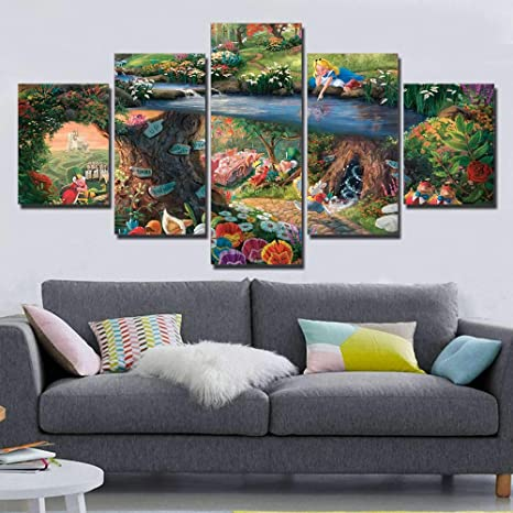 5 Panel Hd Druck Thomas Kinkade Alice Im Wunderland Malerei Leinwand Wandkunst 5 Stück Bild Home Decoration Print No Frame Size 3 Baumarkt