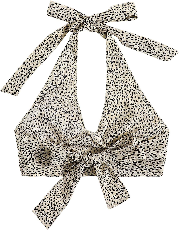 MakeMeChic Women's V Neck Allover Print Tie Backless Crop Halter Top