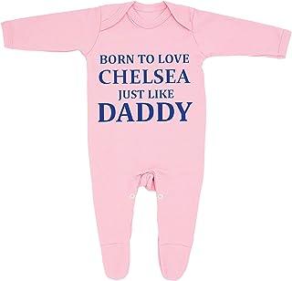 Baberos para bebé «Born To Love Chelsea Just Like Daddy», fabricados en el Reino Unido, 100% algodón peinado fino
