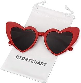 نظارات شمسية على شكل قلب STORYCOAST النساء خمر الأسود الوردي الأحمر شكل القلب نظارات الشمس