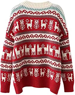 charmsamx Women's Ugly Christmas Sweater Christmas Llama Reindeer Knitted Pullover Jumper Casual Crewneck Long Sleeves Knit Sweater Tops