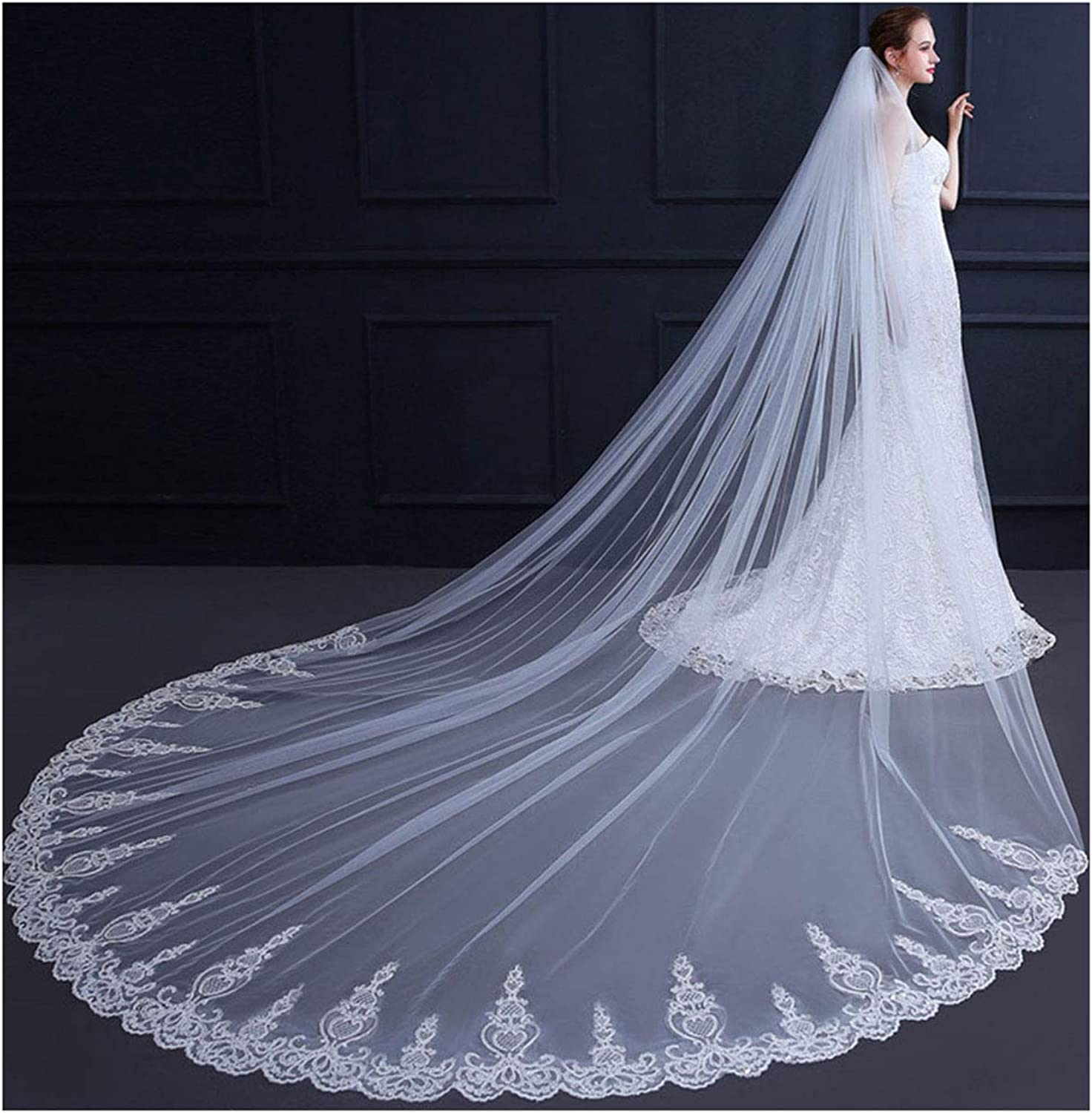 AIBIYI Cathedral Wedding Veil Sequins Lace (350cm) Long Bridal Veil with Comb ABYV44