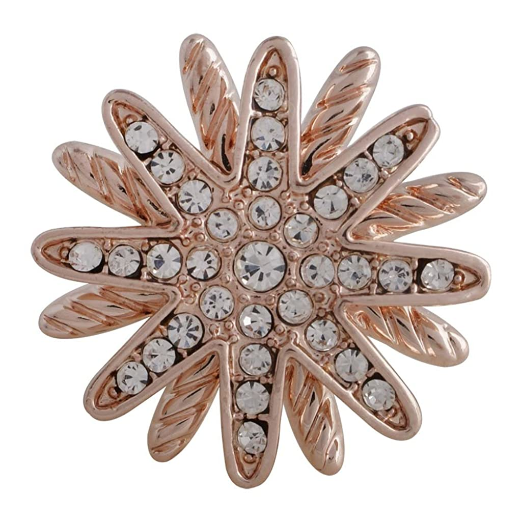 Snap Charm Rose Gold Plated Starburst Clear Crystals 22mm 3/4
