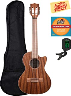 Kala KA-SMHTE-C Solid Mahogany Tenor Cutaway Acoustic-Electric Ukulele Bundle with Gig Bag, Tuner, Austin Bazaar Instructional DVD, and Polishing Cloth
