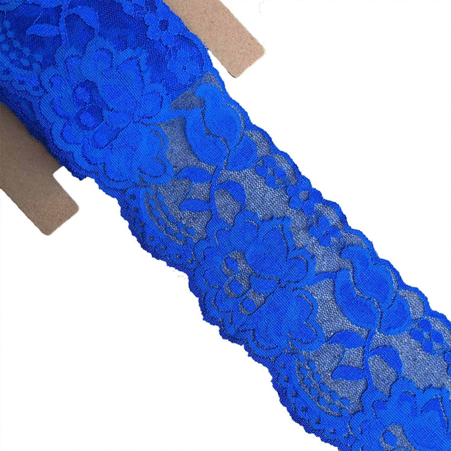 Lace Realm 3.15 Inches Wide×10 Yards Stretch Floral Pattern Lace Ribbon for Wedding Invitation, Sewing, Gift Package Wrapping, Floral Designing & Crafts (Royal Blue)
