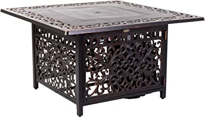 Fire Sense Sedona Square Cast Aluminum LPG Fire Pit Table | Antique Bronze Finish | 50,000 BTU Output | Uses 20 Pound Propane Tank | Fire Bowl Lid, Vinyl Weather Cover, and Clear Fire Glass Included |