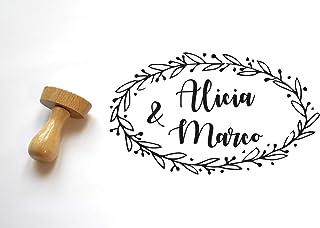 Timbro per matrimonio personalizzabile, floreale, ghirlanda di fiori forma ovale, personalizzato con nomi, stile cottage