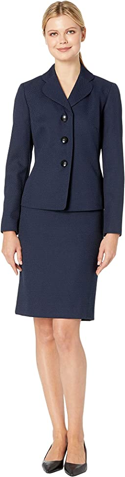 Three-Button Stand Collar Skirt Suit