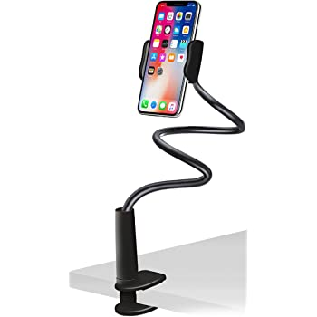 Aduro Solid-Grip Phone Holder for Desk - Adjustable Universal Gooseneck Smartphone Stand, with Durable Mount (Black)