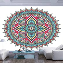 77x30 inches Wall Mural,Ethnic Indian Mandala Pattern Bohemian Floral Nature Theme Henna Style Art Image Peel and Stick Self-Adhesive Wallpaper Removable Large Wall Sticker Wall Decor for Home Office