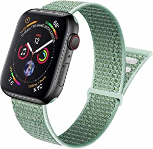 Aipeariful Nylon Solo Loop Compatible with Apple Watch Band 38mm 40mm 41mm 42mm 44mm 45mm,Women Men Adjustable Sport Braided Strap for iWatch Series SE/7/6/5/4/3/2/1,Marine Green,38/40/41mm