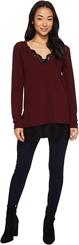 Lace Inset V-Neck Sweater