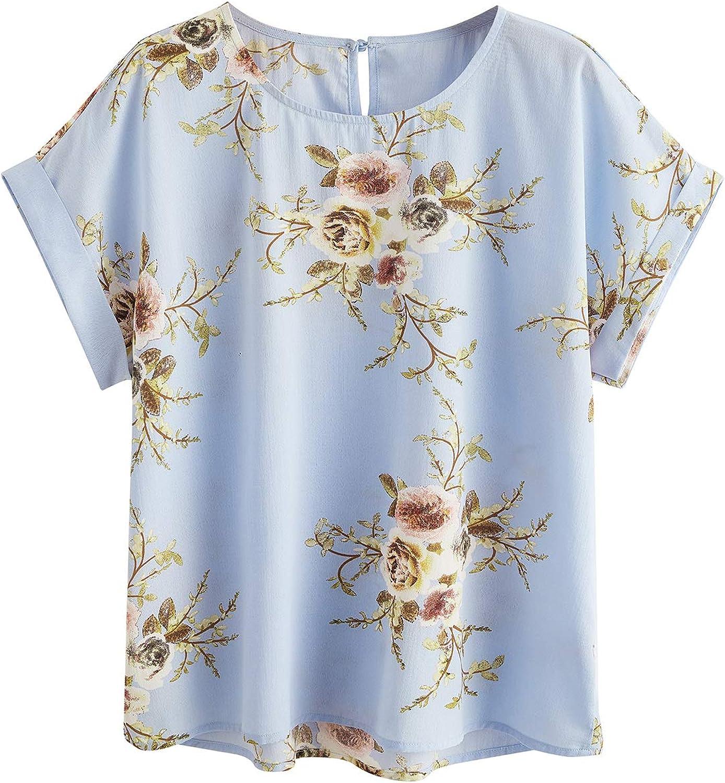 Milumia Women Plus Size Floral Print T Shirt Round Neck Short Sleeve Blouse Top