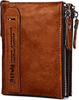 Men's Wallet, Minimalist Vintage Cowhide Leather Wallet With zipper pocket for men