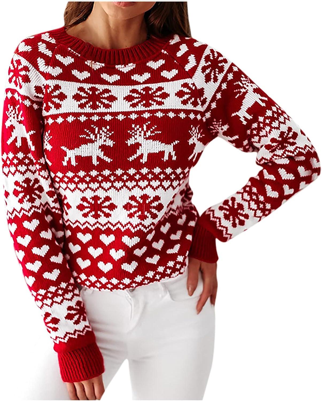 Under blast sales Kanzd Christmas Crewneck Sweaters for Women Fashion Long Japan Maker New Sleeve