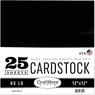 CraftMore Heavyweight Black Cardstock 12x12 25 Sheets