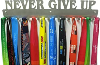 URBN Metal Wall Mount 'Never Give Up' Motivational Kids & Adults Sports Medal Hanger and Ribbon Display Holder Rack with Easy Hanging Hooks, Great Sports Gift