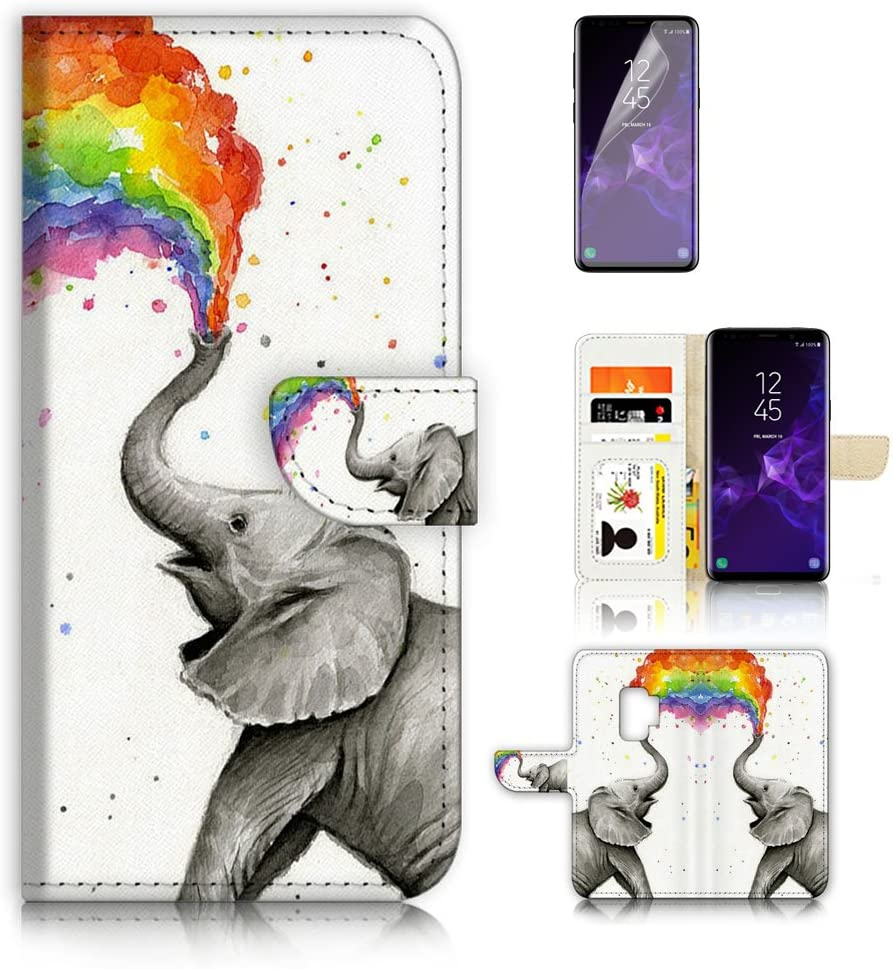 (for Samsung S9+ / Galaxy S9 Plus) Flip Wallet Case Cover & Screen Protector Bundle - A3957 Elephant Rainbow