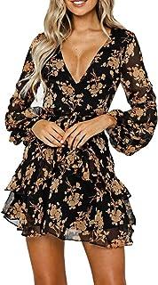 comprar comparacion Vestidos de Mujer Vestido Floral con Volantes Casual Vestido Cruzado Manga Larga Columpio Plisado Vestido Mini Patinador