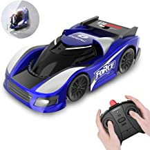 DEERC RC Cars for Kids Remote Control Car with Wall Climbing,Low Power Protection,Dual Mode,360°Rotating Stunt,Rechargeable High Speed Mini Toy Vehicles with LED Lights Gifts for Boys Girls,Color Blue