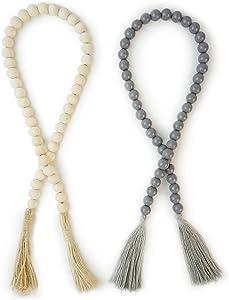 Wooden Beads Garland with Tassels, 2 Pcs 35 Inch Wood Bead Garland, Modern Farmhouse Decor, Boho Home Decor Clearance